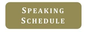 Speaking Schedule for Eric Lorenzen